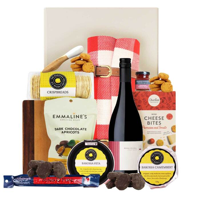 hamper filled with wine, cheese and gourmet fine foods