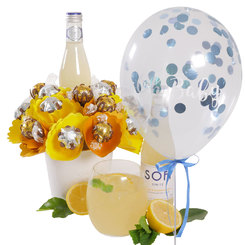 Lemon Spritz Bouquet with 'Oh Baby' Blue Confetti Balloon