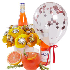 Blood Orange Spritz Bouquet with 'I Love You' Confetti Balloon