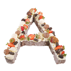 Letter 'A' Chocolate Lamington Surprise Birthday Cake