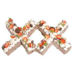 Letters 'XX' Chocolate Lamington Surprise Birthday Cake
