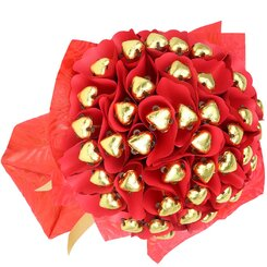 Fourty Hearts Golden Chocolate Bouquet