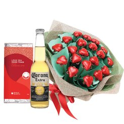 Red Hearts & Beer Valentine Posy