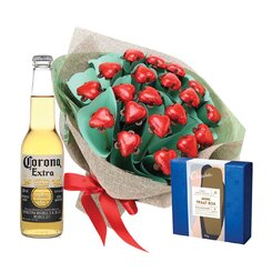 Hearts Posy & Corona Valentine Bouquet with Truffle treat