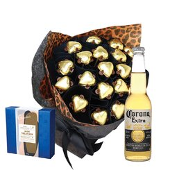 Roaring Gold Hearts & Beer Valentine Posy with Truffle Box