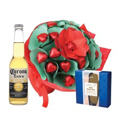 Magical Red Roses & Beer Valentine Posy with truffle treat