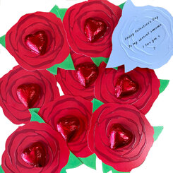 Single rose cards x 40