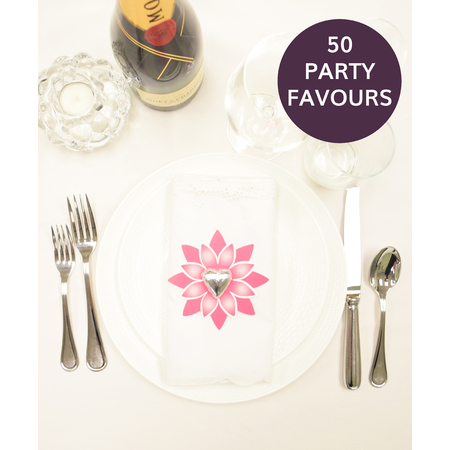 50 Pink Flower Party Favours
