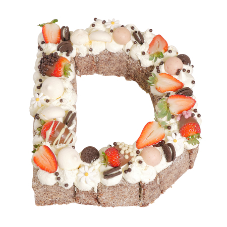 Letter 'D' Chocolate Lamington Surprise Birthday Cake